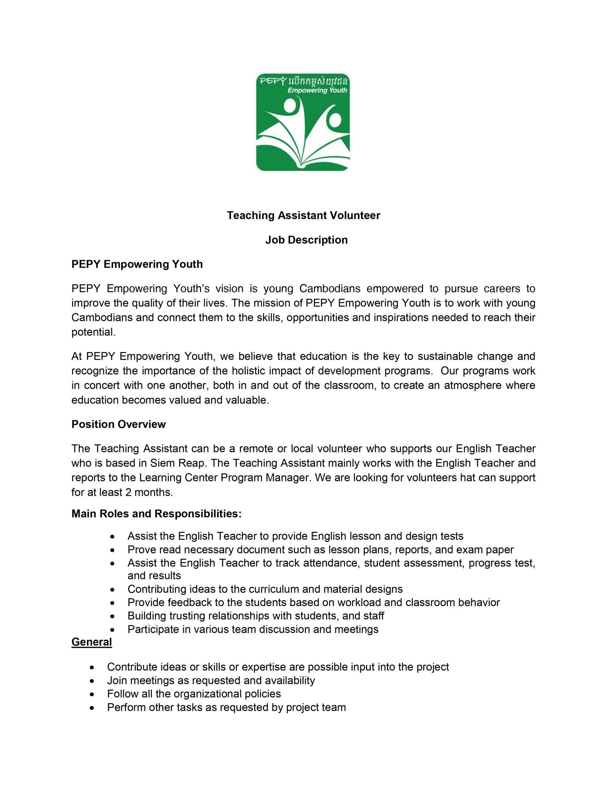Monitoring and Evaluation Officer Job Description